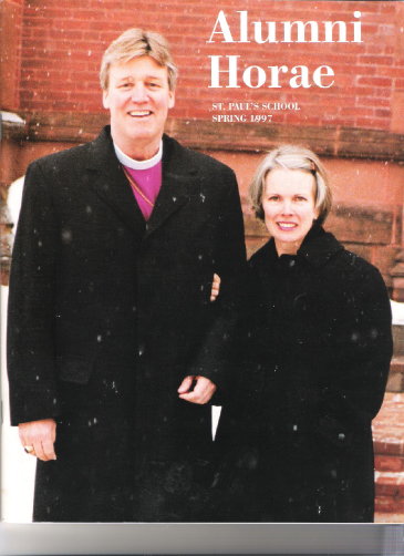 Bishop Anderson and his wife, Lizbeth stand in front of the Chapel on one of their first visits to St. Paul's School